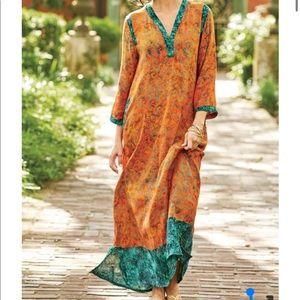 Soft Surroundings Satri Caftan Boho Maxi Dress XL